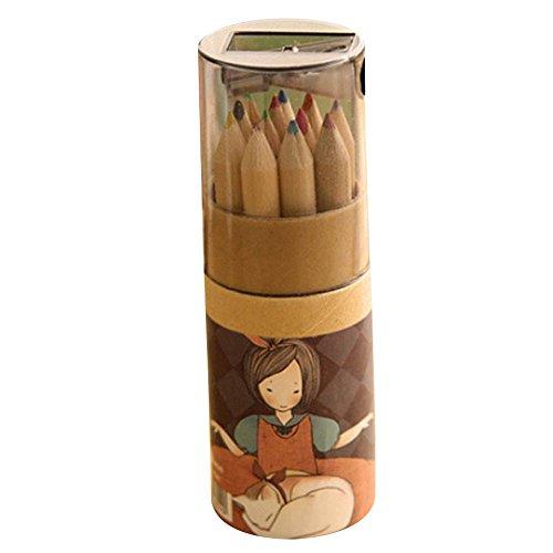 12Couleurs arc-en-ciel en bois Crayons de couleur avec taille-crayon Artiste professionnel fine Dessin Peinture croquis d'écriture Crayons pour enfants des livres de coloriage pour adulte Sketch Art Taille M Noir