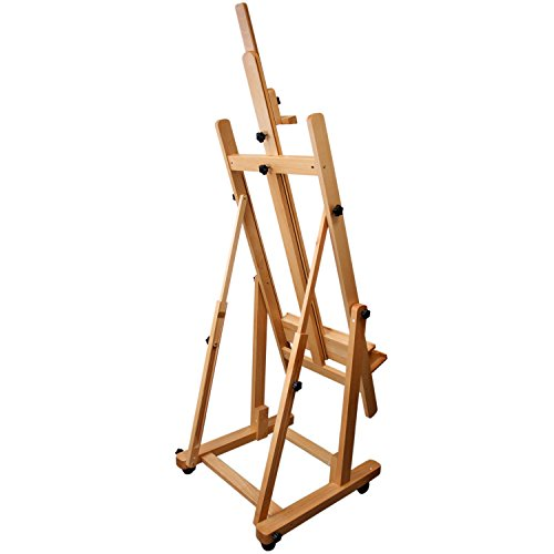 US Art Supply Malibu Extra Large H-Frame Deluxe Adjustable Wood Studio Easel with Tilt and Caster Wheels by US Art Supply (Image #2)