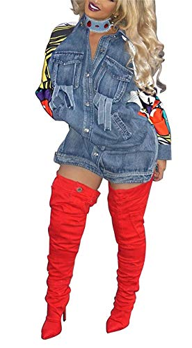 Pattern Anteriori Breasted Alta Mehrfarben Chic Bavero Qualità Lunga Donna Cappotto Manica Jeans Moda Elegante Autunno Tasche Outwear Single Giacche Ragazza Di Baggy Stampate Giacca 40qzZc4xA