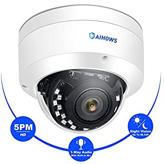 AIHOWS 5MP Dome PoE Security Camera Support ONVIF with MIC, Ultra HD IP Surveillance Sound & Video Recording for Outdoor & Indoor, IP66 Weatherproof, 100ft IR, 110°Viewing Angle