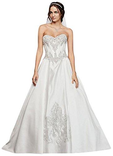 David\'s Bridal Long Sleeve Illusion Lace Wedding Dress Style SWG762