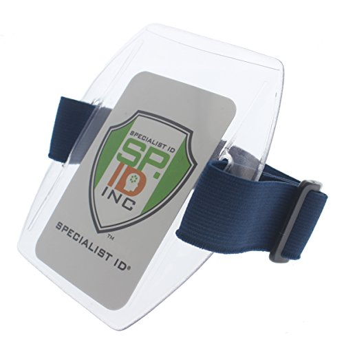 Armband Badge Holder with Blue Adjustable Elastic Arm Band & HOOK AND LOOP Fastener By Specialist ID