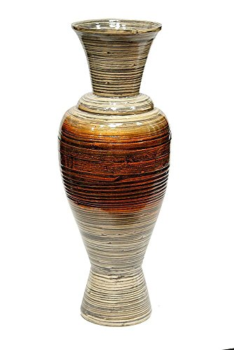 Heather Ann Creations Lila Bamboo Spun Floor Vase, Distressed White/Copper/Bronze