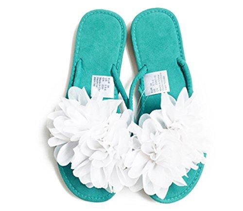 Chic-Mild Handmade Big Lovely Fashion Flowers Flat Flip Flop Sandals... (EUR 42/US 11, White)