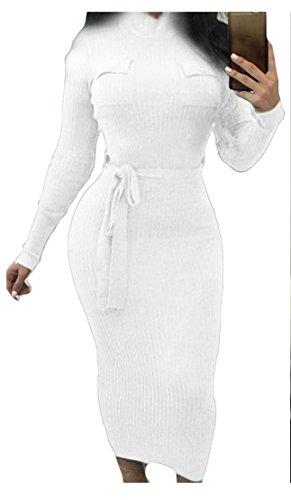 Cromoncent Dresses Belt Women Sleeve Slim Long Fit Midi Bodycon Pencil White3 rwrzf1qZXx