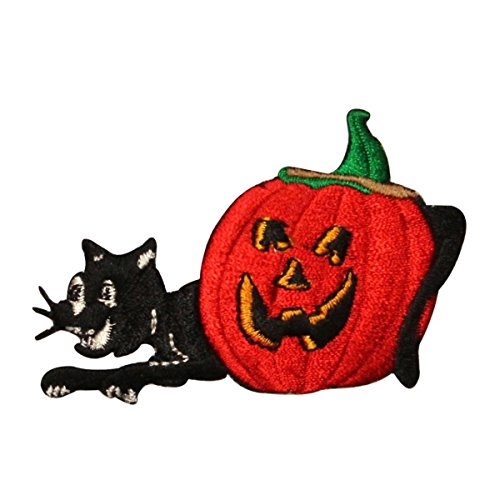 ID 0815 Black Cat and Jack-O-Lantern Patch Halloween Embroidered IronOn Applique]()