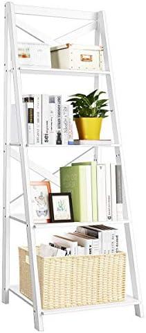 Tangkula 4-Tier Ladder Shelf Bookcase Leaning Free Standing Wooden Frame Decor Bookshelf Storage Flower Shelf Plant Display Shelf for Home Office White, 1