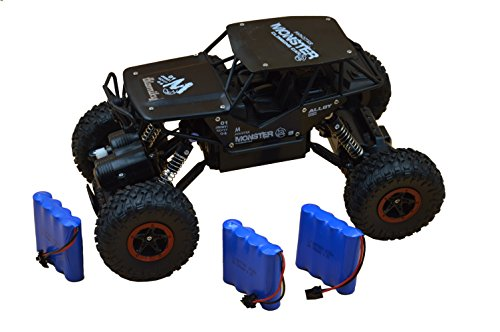 Black Blomiky C185 1:18 Scale 4WD Black Alloy Monster RC Cars Toys Off-Road Remote Control Car RC Vehicle Crawler Buggy Extra 2 Battery for Boy Kids Gift C185 Black (Control Toy Snow Remote)