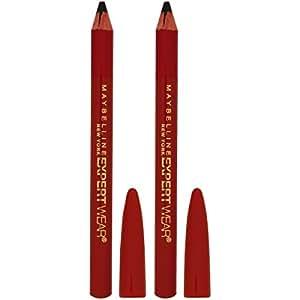 Maybelline Makeup Expert Wear Twin Eyebrow Pencils and Eyeliner Pencils, Velvet Black Shade, 0.06 oz