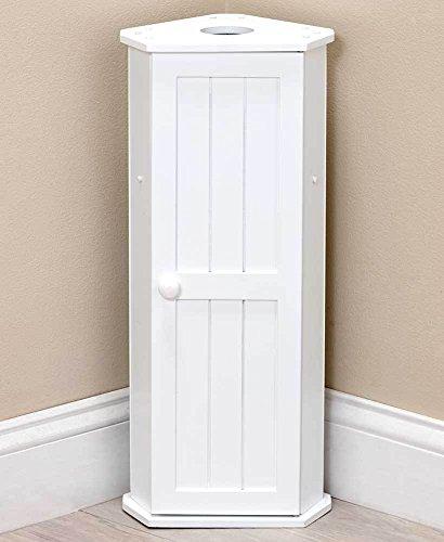 - Moon_Daughter White Toilet Roll Paper Holder Corner Cabinet Tissue Caddy 3 Rolls Storage Space Saver
