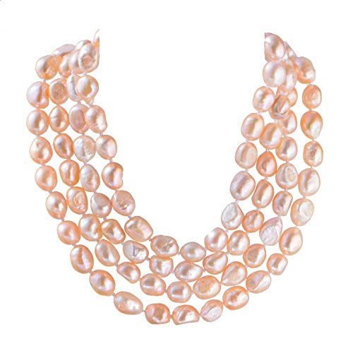(9-10mm Baroque Cultured Freshwater Pearl Necklace Strand Endless Palette Pure Natural Pink 60