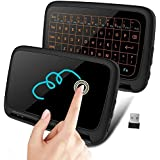 FAVI FE05 Multi-Touch Mini Keyboard & Mouse Pad + Travel Case [Updated 2019 Model]   Mini Wireless, Backlit & Rechargeable Keyboard for PC, Android, TV Box, Smart TV, Raspberry & All USB Port Devices