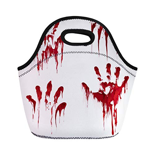 Semtomn Lunch Tote Bag Red Bloody Hand Horror Scary Blood Dirty Handprint Reusable Neoprene Insulated Thermal Outdoor Picnic Lunchbox for Men Women ()