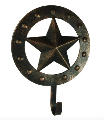 Western Star Hanging Vintage Country Rustic Wall Art Home or Office Decor. Extended Wall Mount Key Rack Holder Utility Hook by Home Collections (Image #1)