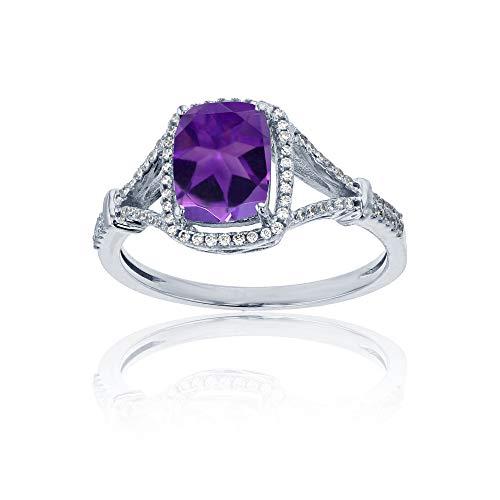 (Sterling Silver Rhodium 0.22 CTTW Round Diamond & 8x6mm Cushion Amethyst Split Shank Ring)