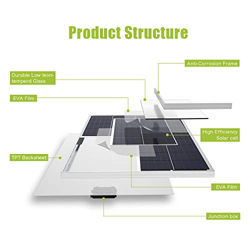 ALLPOWERS [Updated] 100W 18V 12V Solar Panel with MC4 Connector Solar Module Kit for RV, Boat, Cabin, Tent, Car, 12v Battery