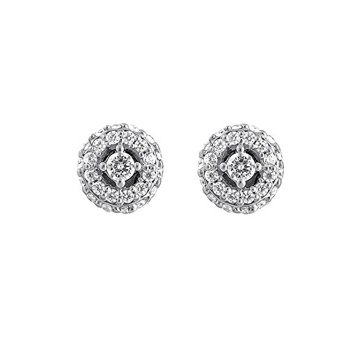 Christmas Gifts Solitaire Diamond Earrings 925 Sterling Silver Halo Round CZ Diamond Earrings for Women by Store Indya