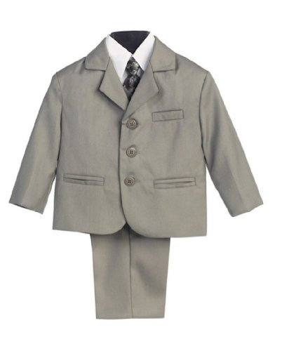 5 Piece Light Gray Suit with Shirt, Vest, and Tie - Size 2T
