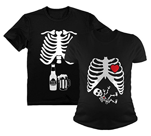 Halloween Skeleton Maternity Shirt Baby Boy X-Ray Matching Couples Set Beer Tee Dad Black Large/Mom Black Medium for $<!--$35.90-->