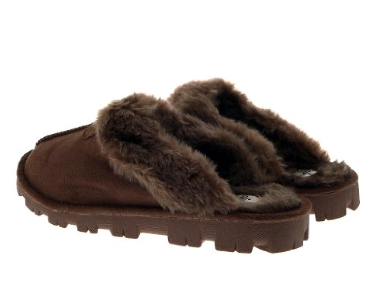 WOMENS SLIPPERS MULES WARM COMFORTABLE SLIP ONS LADIES GIRLS FAUX SHEEPSKIN SUEDE FUR LINED SLIPPER SHOES DARK BROWN SIZE UK 3