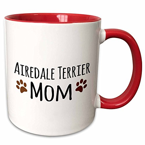 - 3dRose 154055_5 Airedale Terrier Dog Mom - breed-specific design with brown paw prints - doggy lovers Ceramic Mug, 11 oz, Red/White