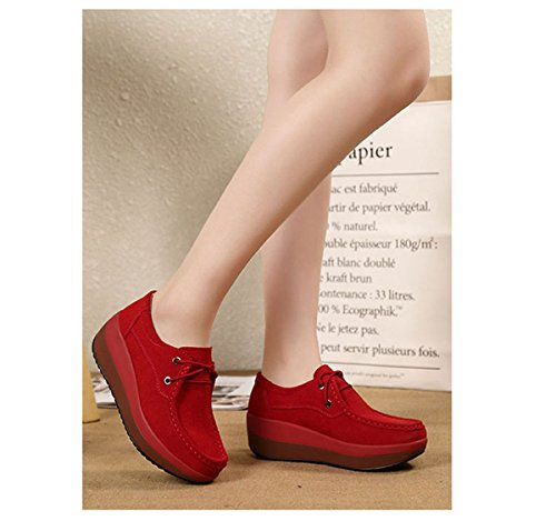 JRenok Chaussure Femme Automne Suède Mode Casual Chaussure à Enfiler Semelle Epais avec la Pente Chaussure Tête Rond Confortable et Elégante Rouge 5bLp1I