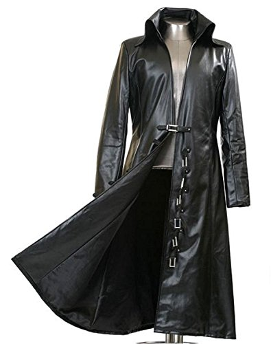 Men's Black Faux Leather Long Black Trench Coat - New Arrival (Medium) (Leather Trench Mens Long Coat)