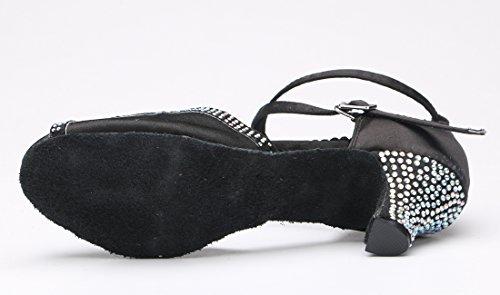 Tda Damesschoenen Comfortabele Peep Toe Enkel Wrap Kristallen Satijn Middellange Hak Salsa Tango Latin Dance Trouwschoenen Zwart