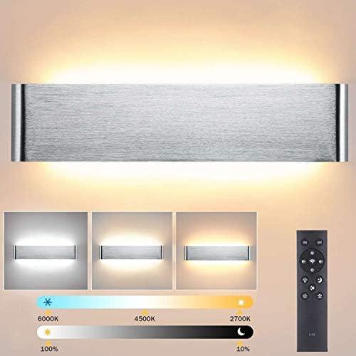 Lightess Applique da Parete Interno Moderno Dimmerabili 24W 40CM Lampada da Parete LED Luminosità Regolabile con 2.4G Telecomando Luce in Alluminio per Soggiorno, Camera da letto, Argento(2700K-6500K)