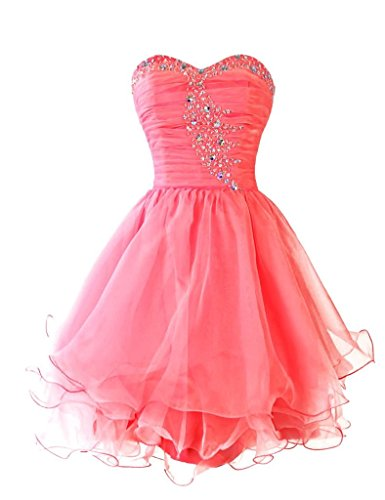 Dresstore Women's Short Beaded Prom Dress Sweetheart Homecoming Party Dresses Coral US 24Plus
