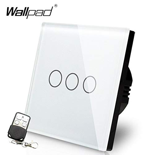 WHITE 110220V EU UK Standard Wallpad Black Glass Touch LED Indicator 3 Gang RF433 Smart Remote Control Light Switches  (color  White)