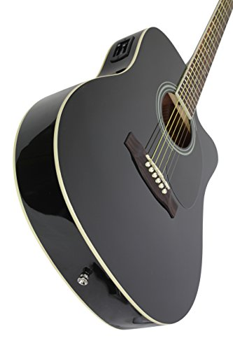 full size thinline black acoustic electric guitar with free gig bag case picks. Black Bedroom Furniture Sets. Home Design Ideas