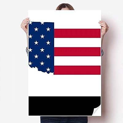 DIYthinker Oklahoma USA Map Stars Stripes Flag Shape Vinyl Wall Sticker Poster Mural Wallpaper Room Decal 80X55cm