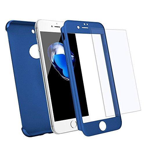 iPhone 7 Plus 360 Degres + Protection en Verre Trempé, [ 360 ° ] Coque de protection avant et arrière cases iPhone 7 Plus Integrale pour iPhone 7 Plus - Bleu