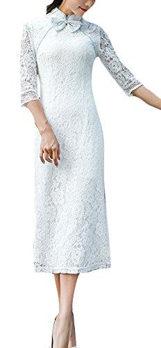 Plaid&Plain Women's Lace Chinese Qipao Cheongsam Dress Stand Collar Midi Dress White 6 ()
