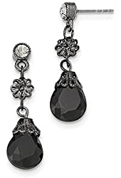 Black-plated Black And Grey Crystal Post Dangle Earrings