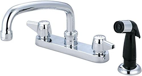 Central Brass 0126-A Double Handle Centerset Kitchen Faucet with Side Spray and Hose