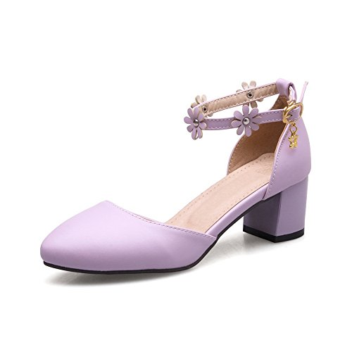 BalaMasa Womens Sandals Closed-Toe Solid Light-Weight Urethane Sandals ASL04437 Purple