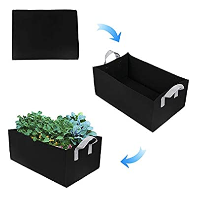 ZAILHWK Garden Growing Bags, Felt Plant Bags with Handles, Fabric Pots, Square Planting Container, Grow Bags Indoor Garden Planter Pot for Plants, Vegetables Fruits Size 60X30X20cm : Garden & Outdoor