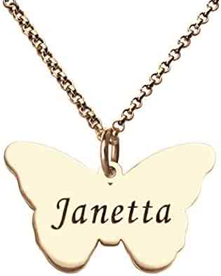 SADNESS N 925 Sterling Silver Butterfly Name Pendant Necklace Jewelry Girls Women Ladies