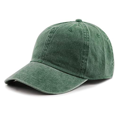 Chino Washed Cotton Cap - The Hat Depot 100% Cotton Pigment Dyed Low Profile Six Panel Cap Hat (Green)