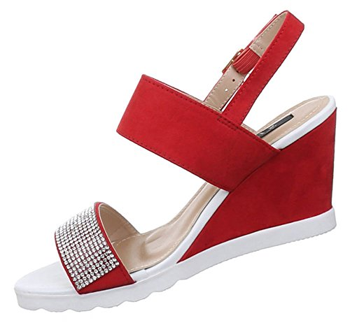 Damen Sandaletten Schuhe Pumps Plateau Heels Stilettos Riemchen schwarz beige rot 36 37 38 39 40 41 Rot