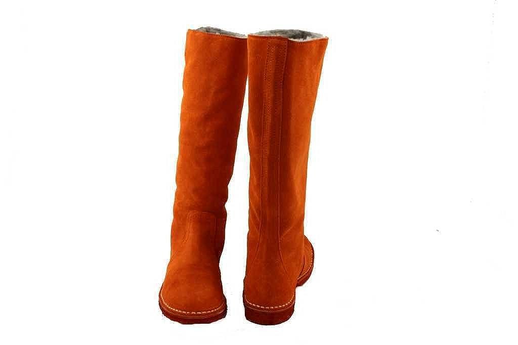 Delacroix Stiefel Shoe Leder Lammfell Winterstiefel Gr.36 40 2680 orange