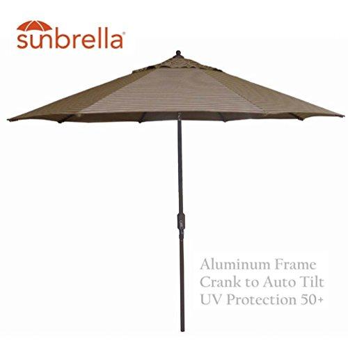 9' Sunbrella Auto Tilt Patio Market Umbrella - Cocoa Hardwood