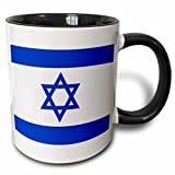 3dRose 151420_4 Israeli flag Mug, 11 oz, Black