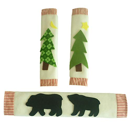 Fityle Set 3pcs Home Kitchen Appliance Refrigerator Handle Covers Christmas Decoration
