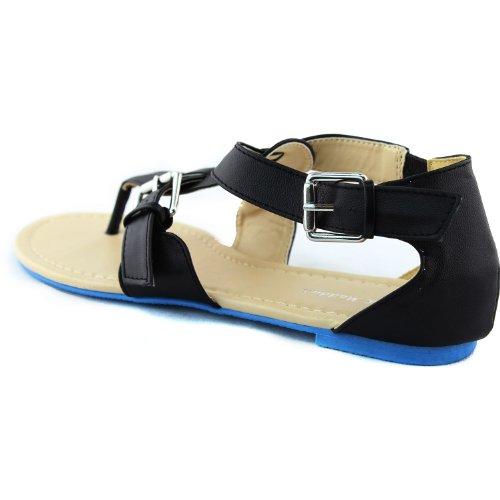 Gladiador Para Mujer Casual Correa Cruzada Hebilla Pisos Sandalias De Playa De Verano Sexy Zapatos De Moda Negro Pu