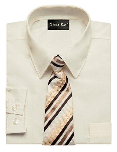 OLIVIA KOO Boys Kids Long Sleeve Solid Color Dress Shirts With Matching Windsor Tie Set Ivory 8