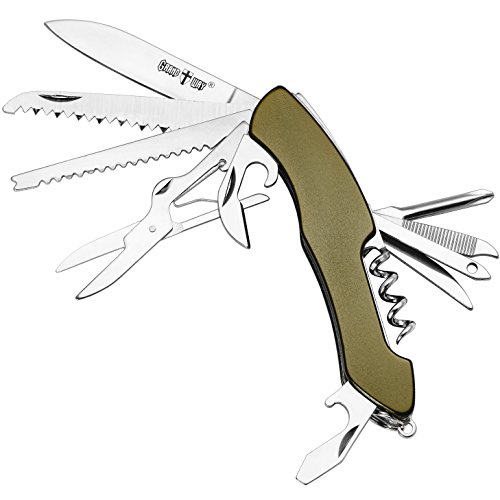 Multi Function Olive Handle Knife 13-in-1 with Corkscrew