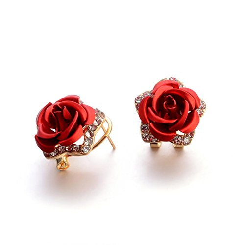 Hot Sale! Paymenow Women Girls Rose Rhinestone Small Earrings Fashion Eardrop Jewelry with Summer Dress (Red) -